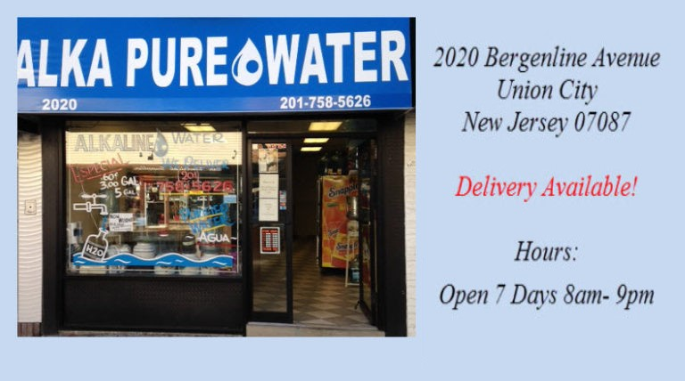 Picture of our water store with information on address, hours and delivery.